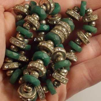 Czech faceted green glass beads w/rhinestone choker necklace. - Costume Jewelry