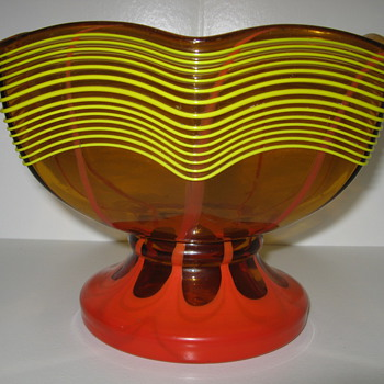 Kralik Amber glass pedestal bowl with yellow threading and red flame decor - Art Glass