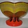 Kralik Amber glass pedestal bowl with yellow threading and red flame decor
