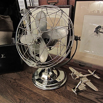 late 1940s Air Beam 3 speed chrome fan - Office