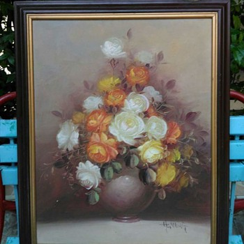 Paintig of Roses with Vase - Unknown Signature - Visual Art