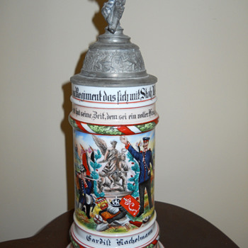 Imperial German Reservist's stein of Gardist Kachelmann, 115th Hessian Liebgarde Regiment - Breweriana