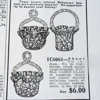 Study Of Czech Glass Era: Small Ornate Furnace Decor Whimsy Baskets - Art Glass