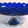 Cobalt glass Compote & turn of the century Czechoslovakian Dresser Bottle