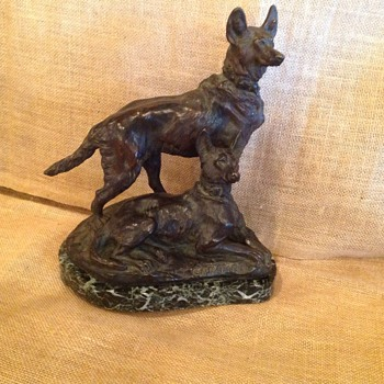 T. Cartier Bronze Wolfhound Sculpture