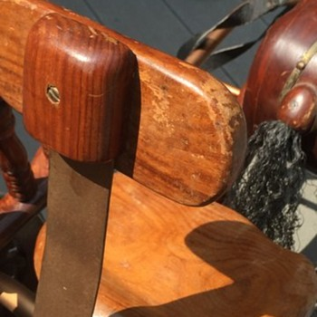 Antique Wooden Horse pedal cart underside