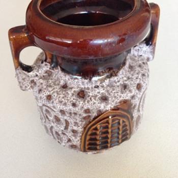 Glazed Brown and White Vase - Art Pottery