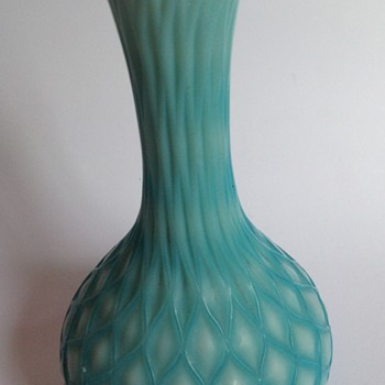 Victorian blue cased cut velvet glass vase with quilted pattern