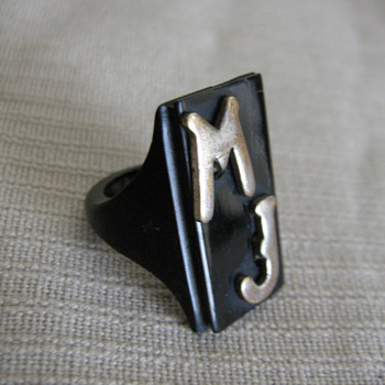 Bakelite  initial MJ ring & Mariam pin - Costume Jewelry