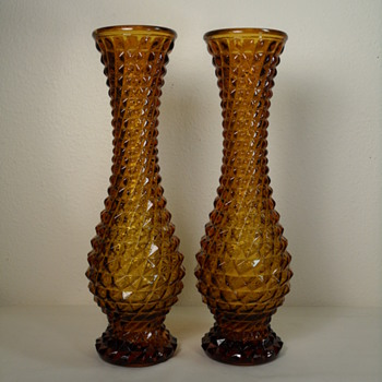 Vintage Empoli Diamond Point Vase Pair - Art Glass