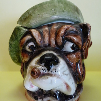 Antique Dog Tobacco Jar - Tobacciana