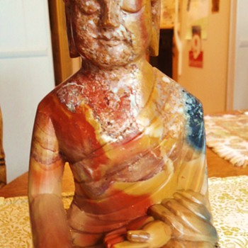 "Marble Buddha statue,   3.7 pounds  9"" or 23 cm. - Asian"