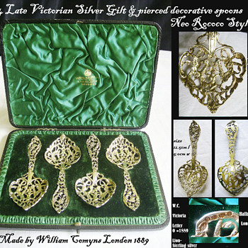 Four Victorian Silver Gilt Sugar Sifter Spoons Boxed by William Comyns 1889