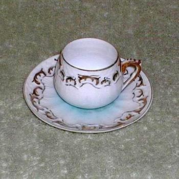 Blue & White Porcelain Demitasse Cup & Saucer