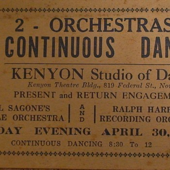 Kenyon Studio Of Dancing Dance Card April 30, 1925 - Music Memorabilia