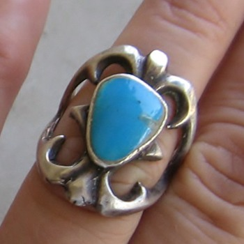 Sandcast sterling Navajo ring - Native American