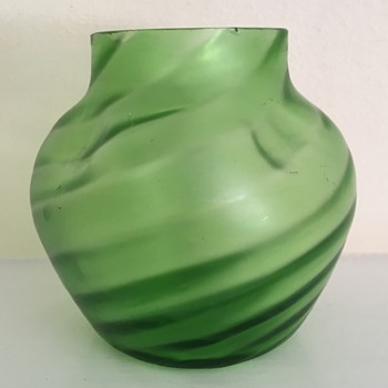 Ribbed and dimpled satin glass vase
