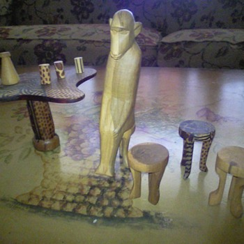 African?  Table, Chairs, Cups, Monkey 