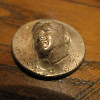 Unusual Kennedy Half Dollar with 3D effect - Advertising