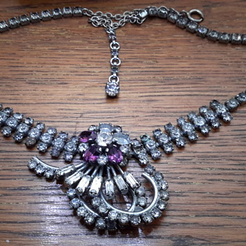 1940s rhinestone necklace - Art Deco