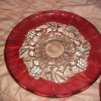 Fancy Red and clear glass serving tray - Art Glass