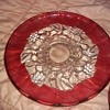 Fancy Red and clear glass serving tray
