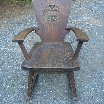 Unique Oak Rocker with Sea Serpent Carving - Furniture