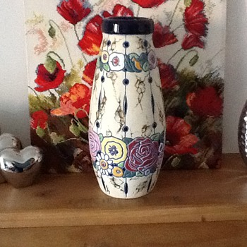Tall amphora pottery vase