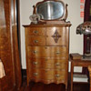 Antique Tiger Oak Bonnet Chest With Serpentine Front