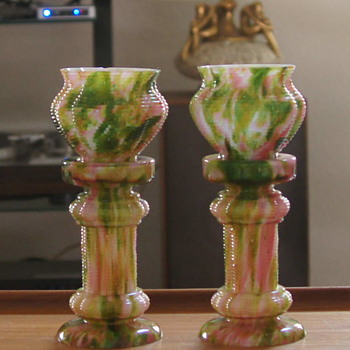 Franz Welz Pink & Green Aventurine Ribbed Pedestal & Jardinaire Pair