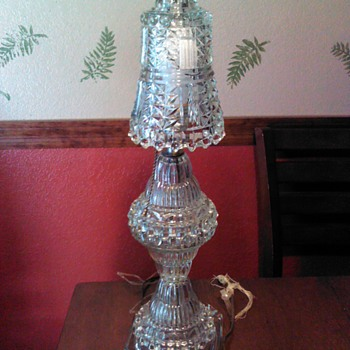 Vintage cut glass table lamp and shade