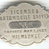 Milwaukee 1925 Licensed Automobile Driver badge