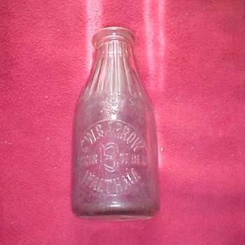 Vintage, milk bottle = EMBOSSED; C.W. BARROW, WALTHAM, MASS.