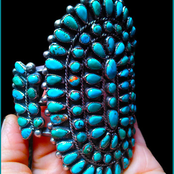 Vintage 1940-1950's era Zuni Petit Point Cuff Bracelet