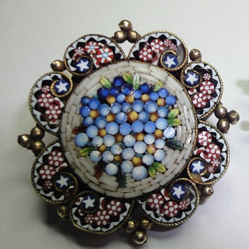 Vermeil Micro Mosaic little brooch - Fine Jewelry