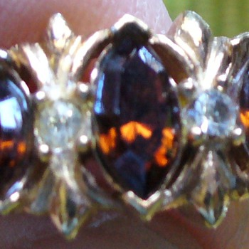 Amber Stone and Gold Ring - Costume Jewelry