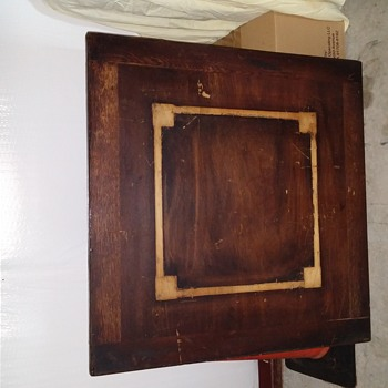 """34"""" square table with metal tag on leg """"N.B.D. 13550"""""""