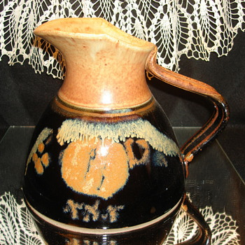 Black and Tan/Rust Pottery Pitcher - Art Pottery