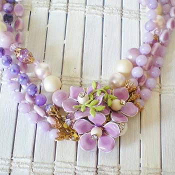 Vintage enamel flower demi parure - Costume Jewelry