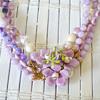 Vintage enamel flower demi parure