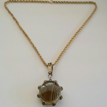 Victorian Gilt Banded & Bullseye Agate Locket Back Pendant on Period Chain with Buckle Bale - Costume Jewelry