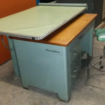 1950's Hamilton Drafting Table - Hydraulic Tilt & Top Lift