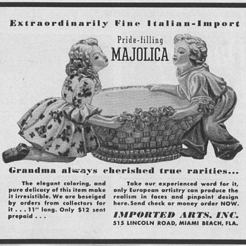 1950 Majolica Advertisement