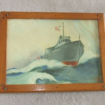 Original WW2 era painting of a USN PT boat