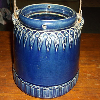Antique Salt Glaze Cobalt Blue Pot Bucket With Handle Any INFO ???? - Pottery