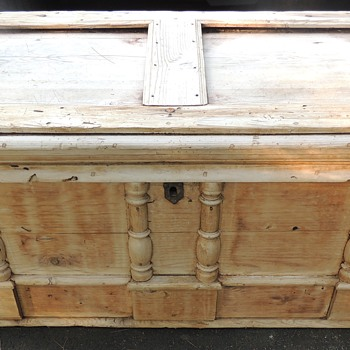 Early Pine Chest - Spindle Decorated - Wrought Hardware