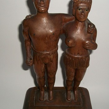 Folk Art Sculpture Carving Nude Man and Woman