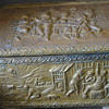 Ash/coal box with hammered copper folk scene