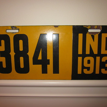 Indiana Porcelain License Plate Dated 1913