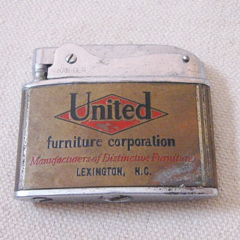 Vintage Kan-Der Lighter Advertising Alco Minneapolis Minnesota United Furniture Corp.  Lexington North Carolina